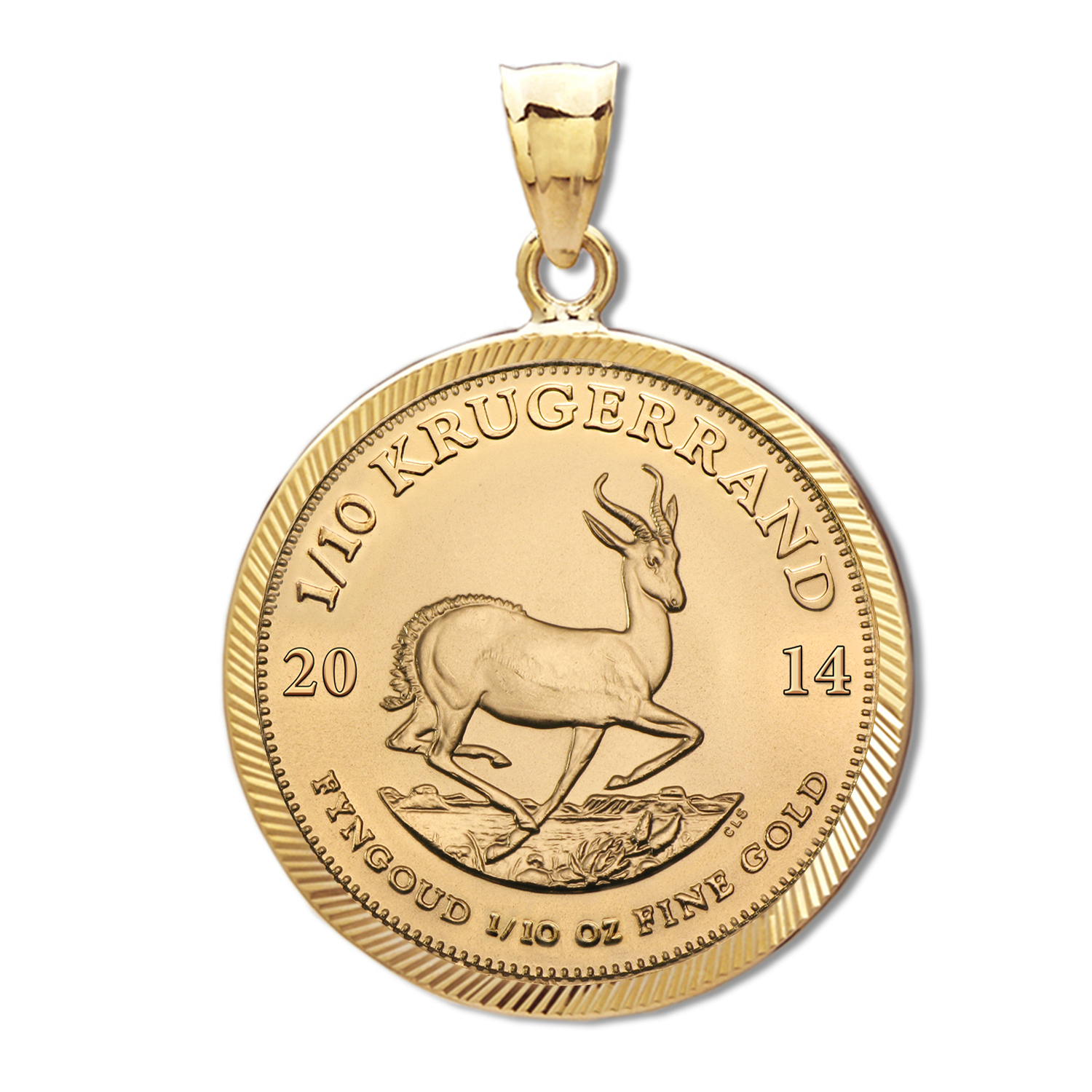 2014 1/10 oz Gold Krugerrand Pendant (Diamond-Prong Bezel)